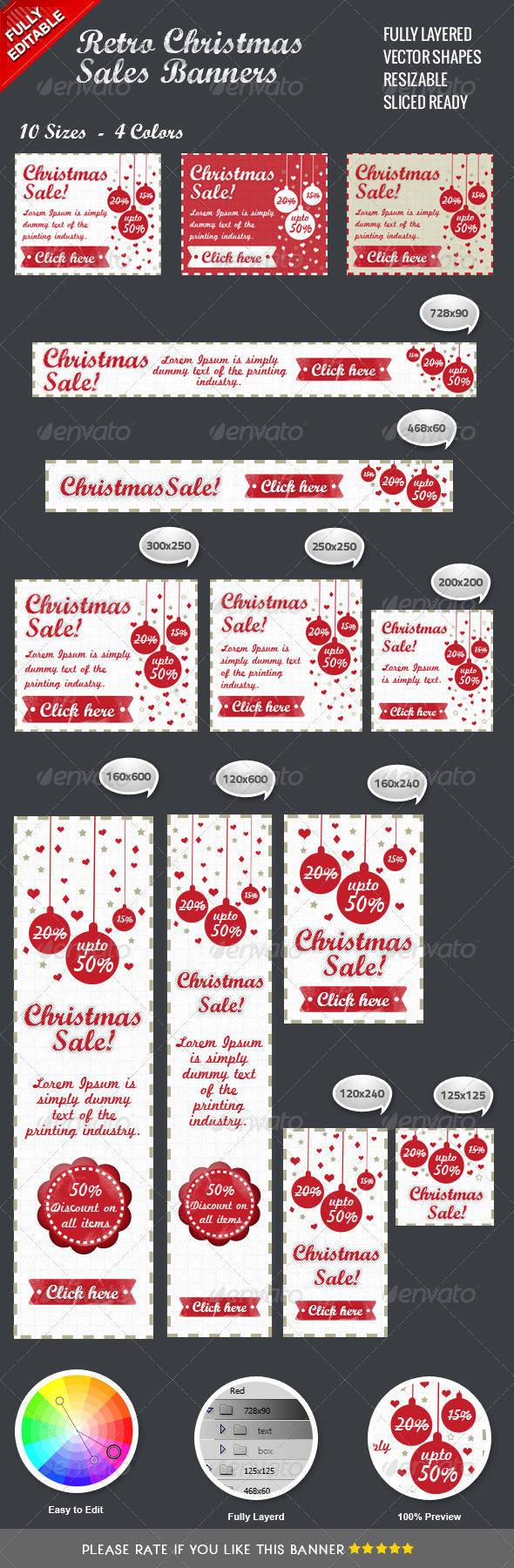 Retro Christmas Sales Banners - Banners & Ads Web Elements