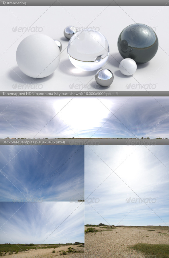 HDRI spherical panorama -1125- sunny sky / clouds - 3DOcean Item for Sale