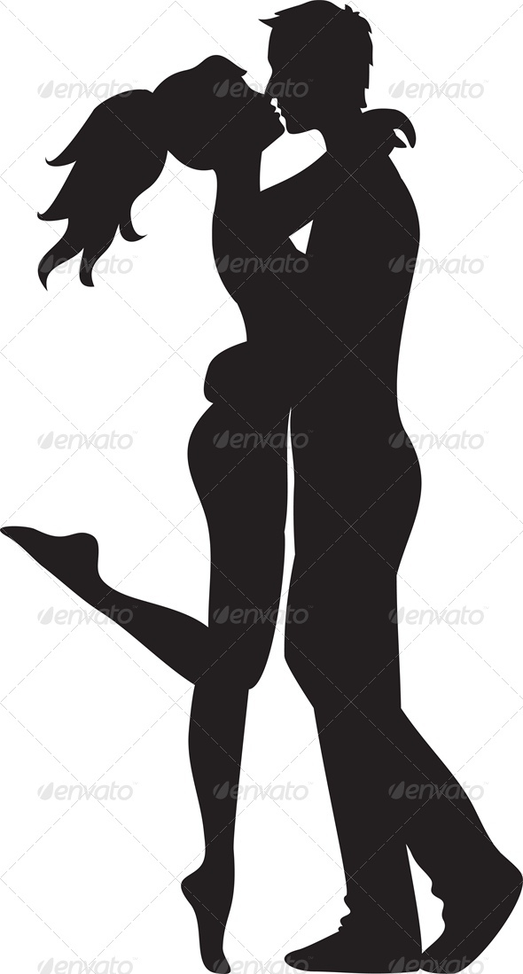 Woman and Man Kissing - People Characters