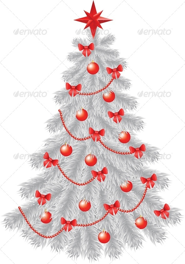 White Christmas Tree with Red Decoration - Christmas Seasons/Holidays