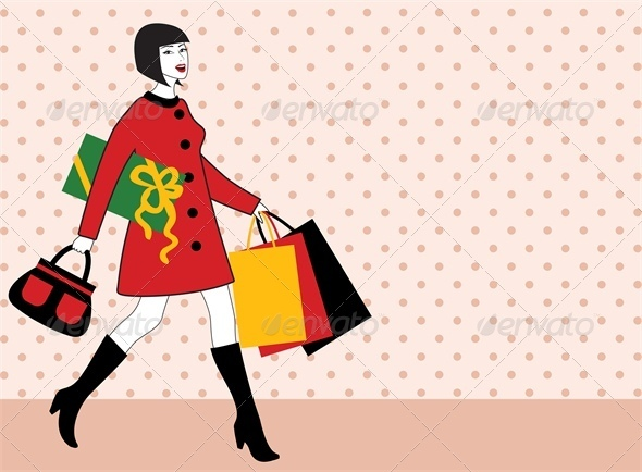 Woman with shopping bag and gift  - Retail Commercial / Shopping