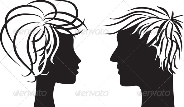 Silhouette of Man and Woman - People Characters