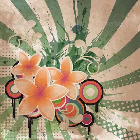 Retro Flowers Background - Backgrounds Decorative
