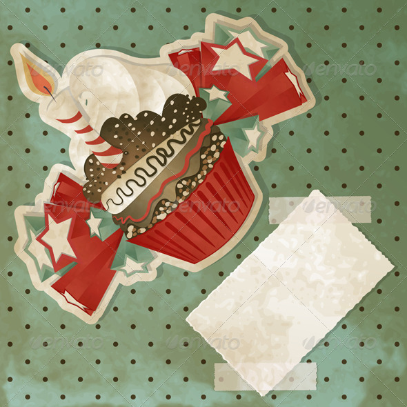 Vintage Birthday Cupcake - Birthdays Seasons/Holidays