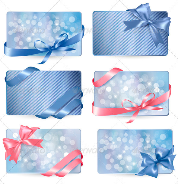 Set of Colorful Gift Cards with Bows and Ribbons - Christmas Seasons/Holidays