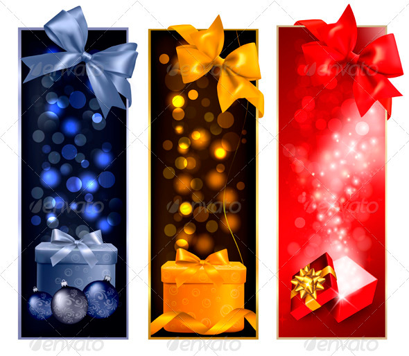 Three Christmas Banners with Gift Boxes and Snow - Christmas Seasons/Holidays