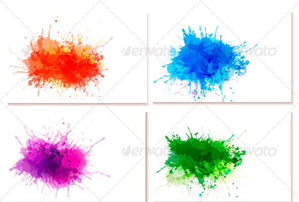 Collection of Colorful Abstract Watercolor Banners - Backgrounds Decorative
