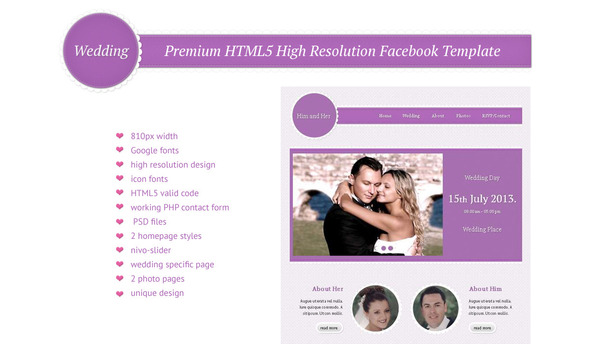 Wedding – HTML5 High Resolution Facebook Template