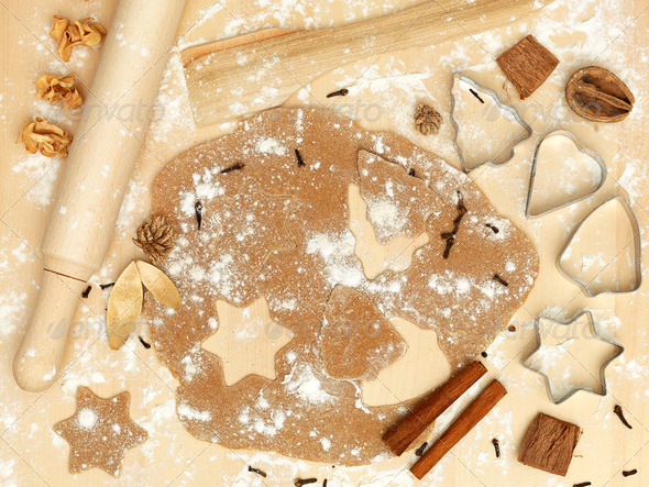 forms of metal rolling pin flour cinnamon xmas - Stock Photo - Images