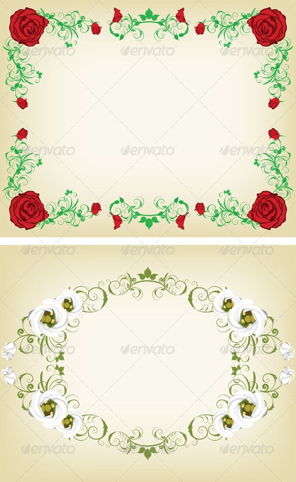 Vintage Floral Frame Set - Flowers & Plants Nature