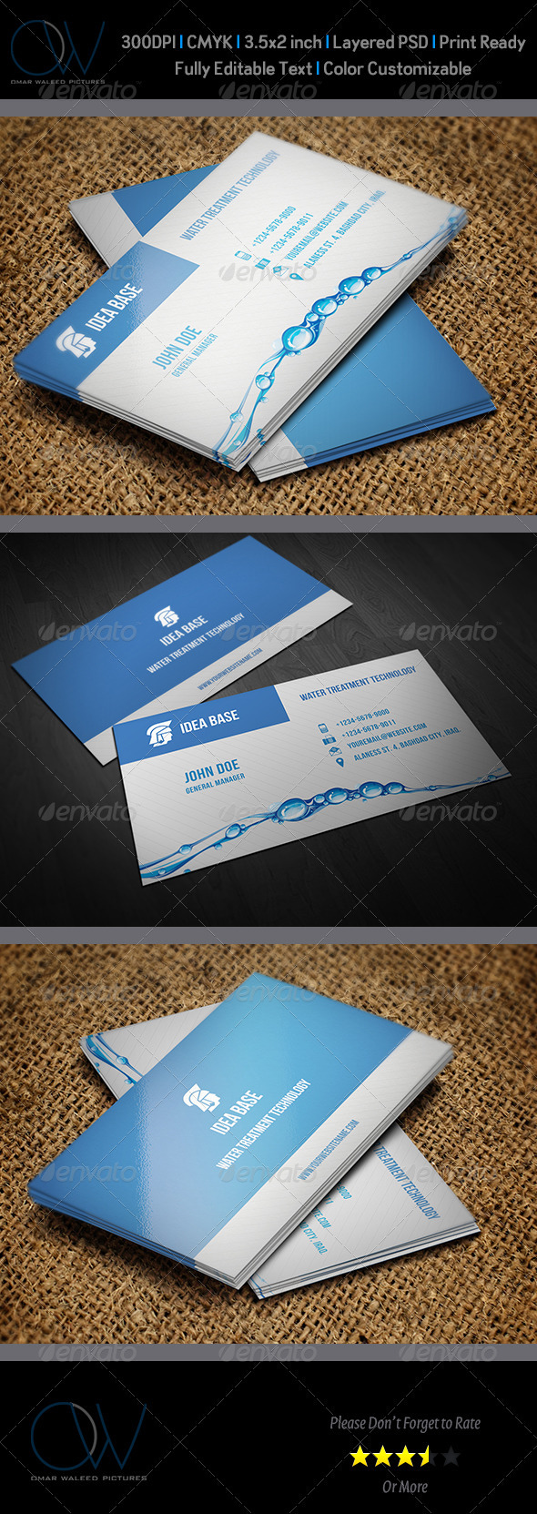 Water Technology Business Card - Corporate Business Cards