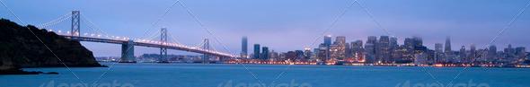 San Frisco City Skyline Panoramic Banner Bay Bridge West Coast - Stock Photo - Images