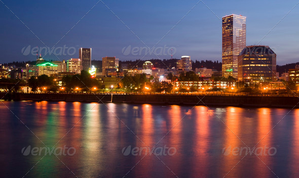Portland Oregon Willamette River Downtown City Waterfront Skyline - Stock Photo - Images