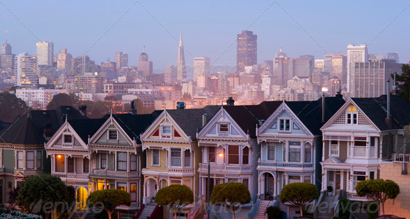 San Francisco Downtown Behind Neighborhood Homes Painted Ladies - Stock Photo - Images