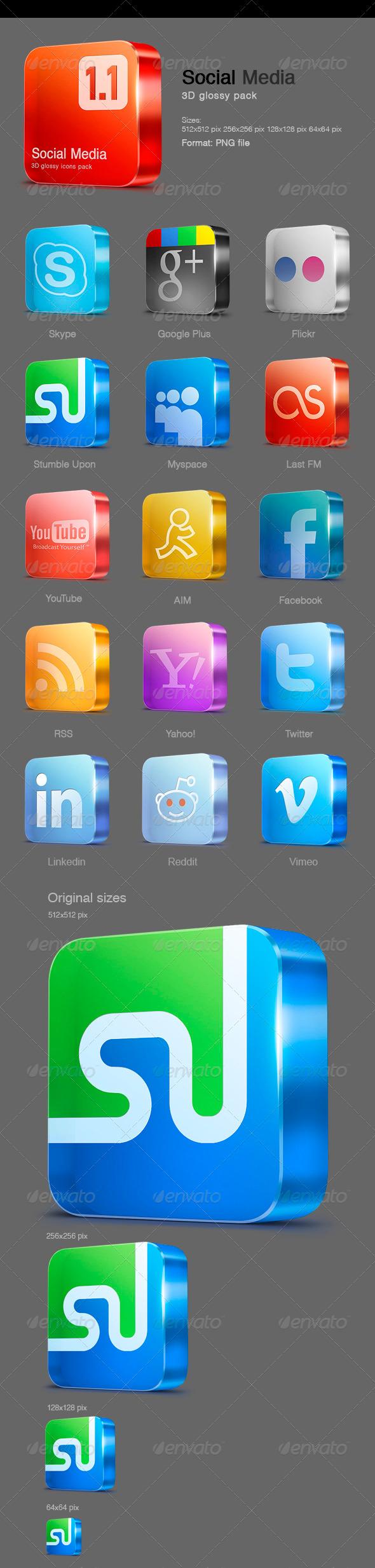 15 Glossy Social Media icons v 1.1 - Web Icons