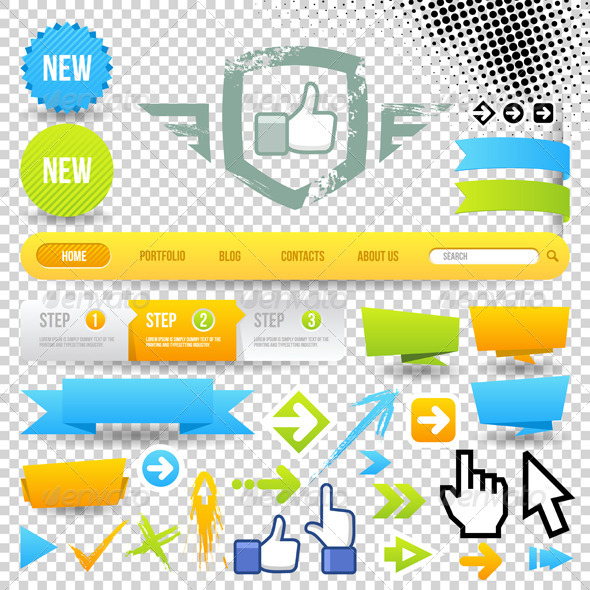 Web Template Icon and Arrows - Web Elements Vectors