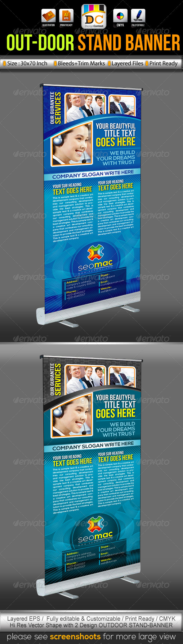 SeoMac Out-Door Stand Banner Sinage Templates - Signage Print Templates