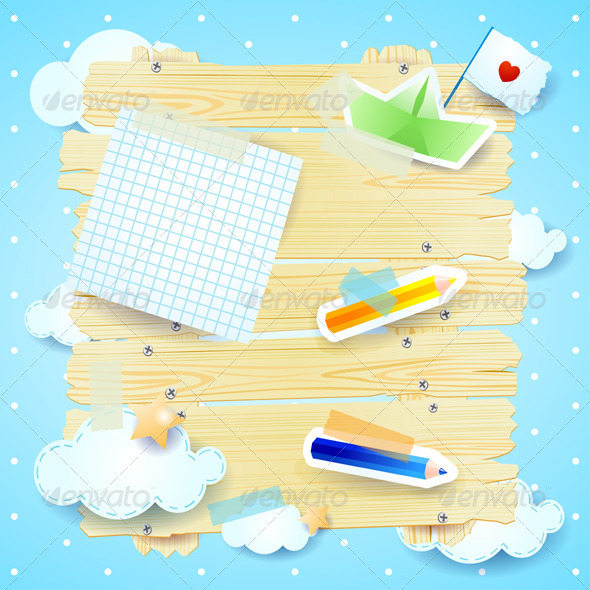 Fantasy Background with Paper Elements - Backgrounds Decorative