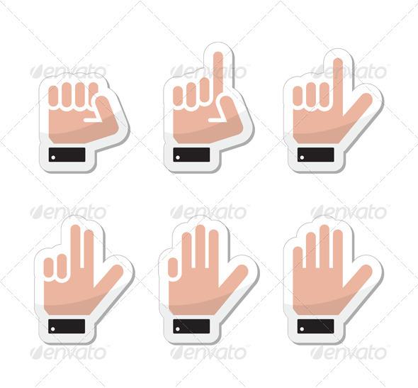 Hand Vector Gestures, Signals and Signs - Victory - Decorative Symbols Decorative