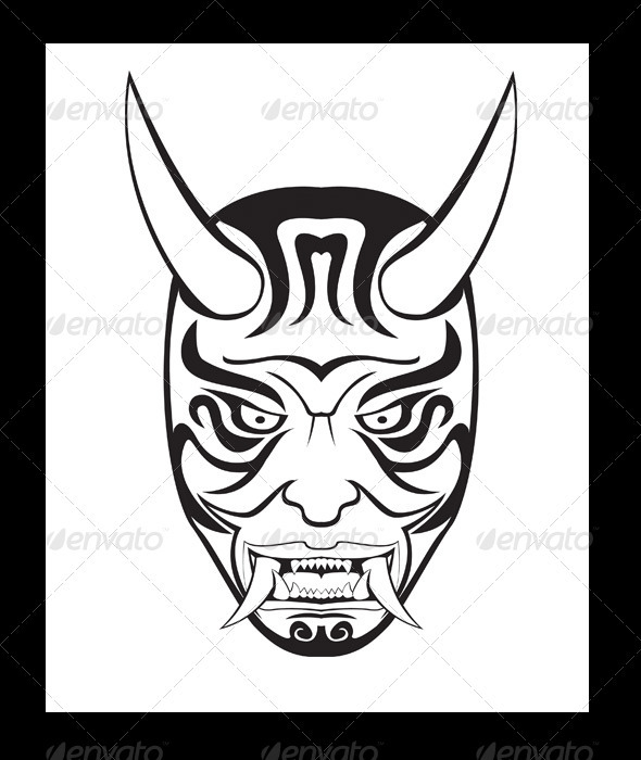 ONI Mask Illustration - Tattoos Vectors
