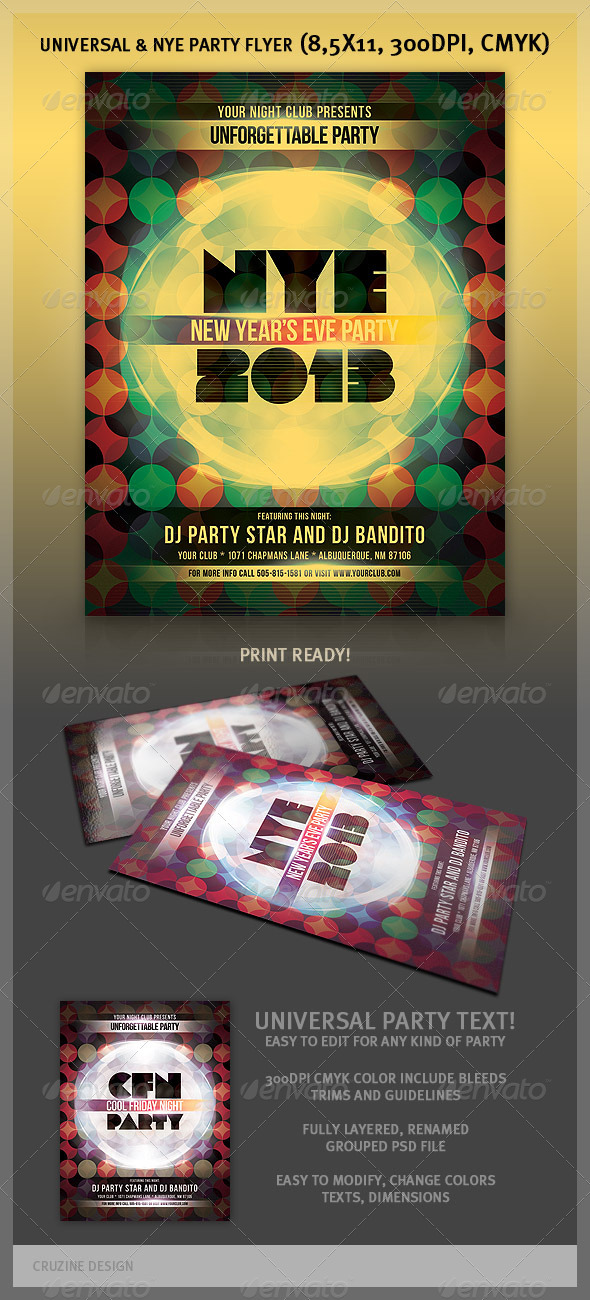 Universal & NYE Party Flyer - Clubs & Parties Events