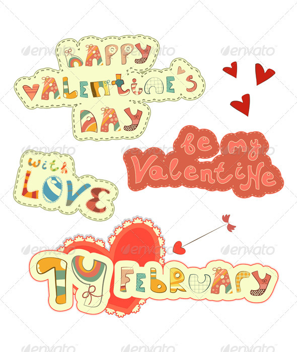 Set of Hand Lettering for St. Valentine's Day - Valentines Seasons/Holidays