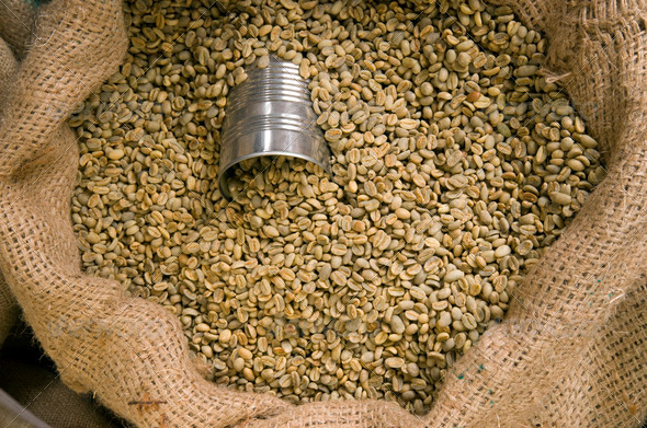 Bean Can Portion Control Coffee Bean Roaster Warehouse - Stock Photo - Images