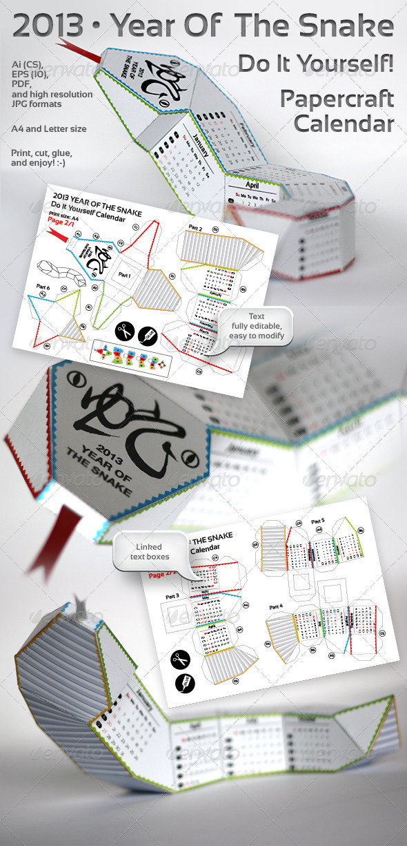 Snake Of The Year - 3d DIY Papercraft Calendar - Calendars Stationery