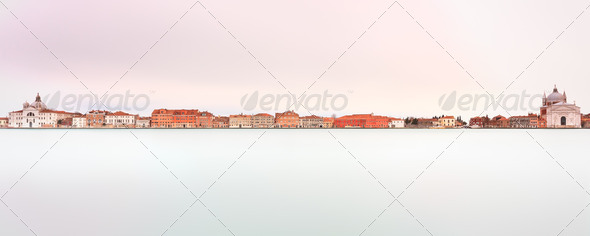 Venice, Giudecca Canal landmark. Panoramic Long exposure photogr - Stock Photo - Images