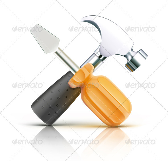 Screwdriver and Hammer  - Objects Vectors