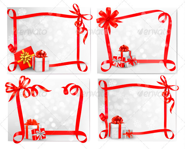 Set of Holiday Backgrounds with Red Gift Bows - Christmas Seasons/Holidays