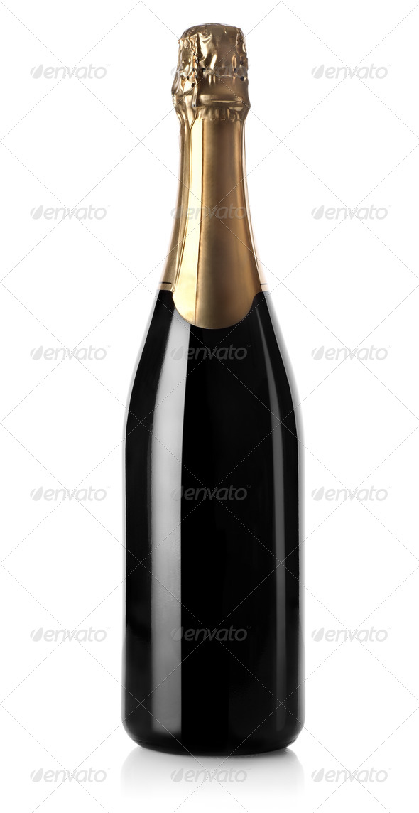 Champagne bottle isolated - Stock Photo - Images