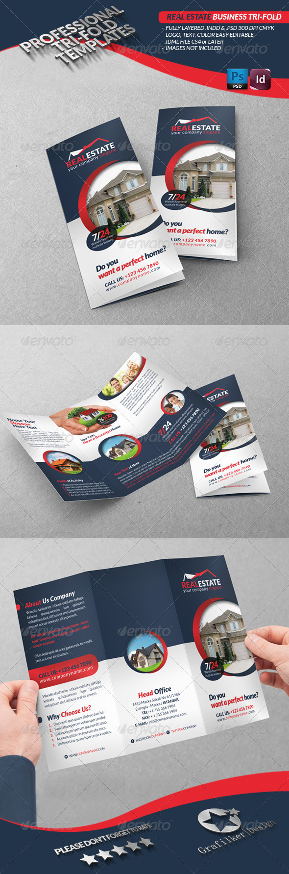 Real Estate Business Tri-Fold - Brochures Print Templates