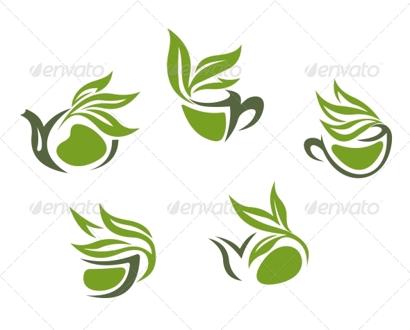 Green Herbal Tea Symbols - Food Objects