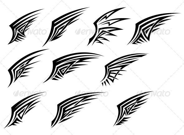 Set of Black Tribal Wing Tattoos - Tattoos Vectors