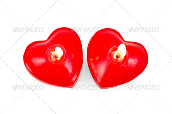 Hearts two in the form of candles - Stock Photo - Images