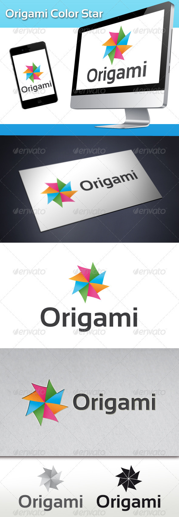 Origami Color Star Logo - Abstract Logo Templates