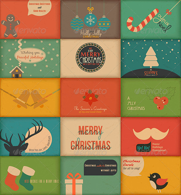 Collection of retro holidays greeting cards by blinkblink graphicriver collection of retro holidays greeting cards christmas seasonsholidays m4hsunfo
