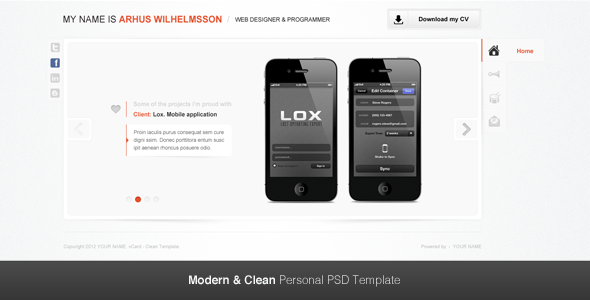 Modern & Clean Personal PSD Template