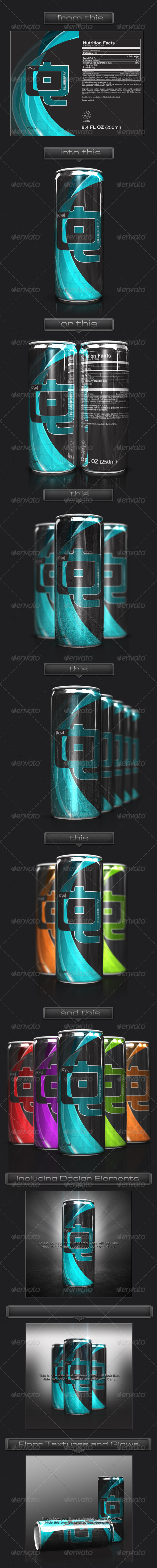 3D Energy Drink Soda Can Mockup - Food and Drink Packaging