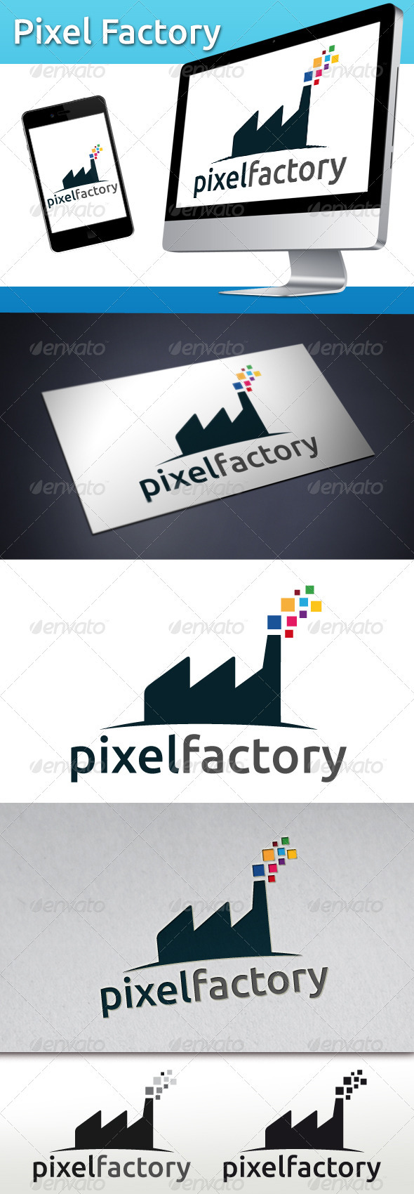 Pixel Factory Logo - Buildings Logo Templates