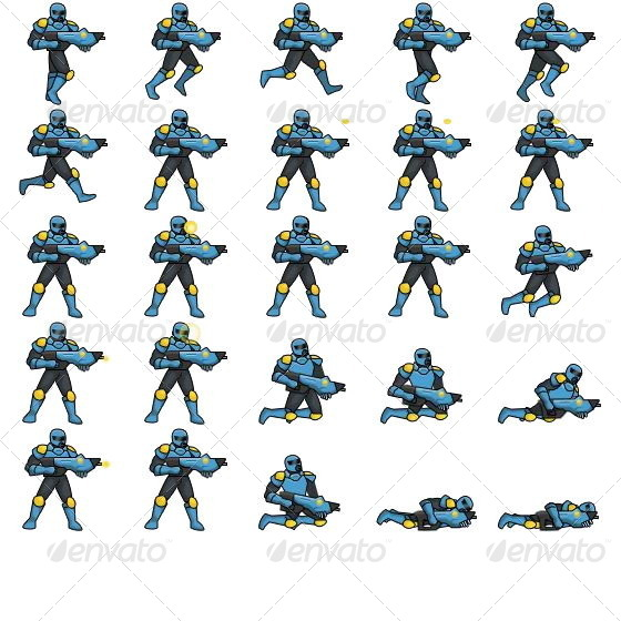 Space Marine Game Sprite Sheet With Coordinates By Philippineoutsourcing