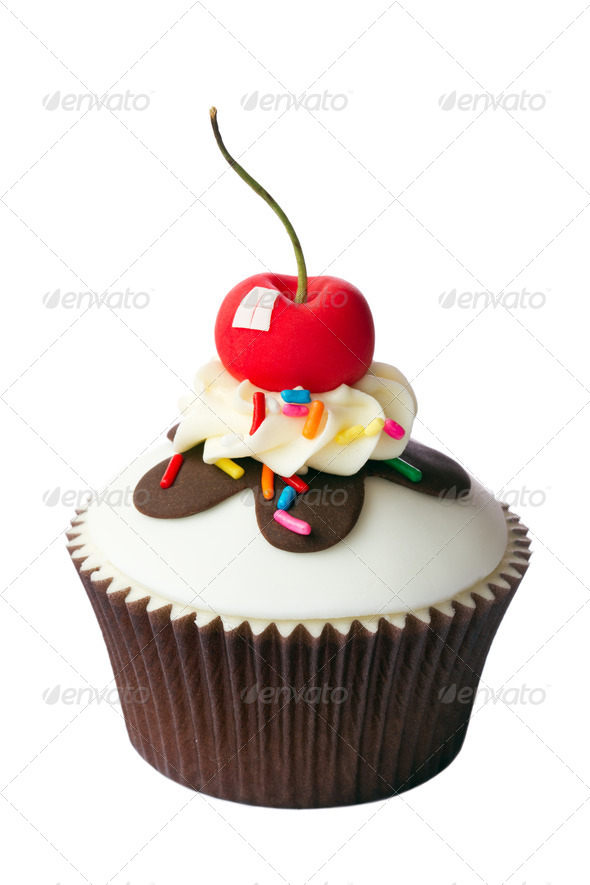 Cherry cupcake - Stock Photo - Images