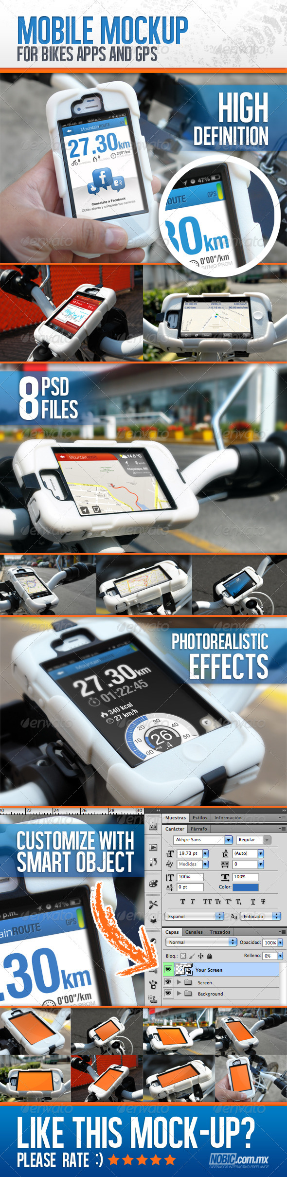 Bike Mockup for Apps and GPS Devices - Mobile Displays