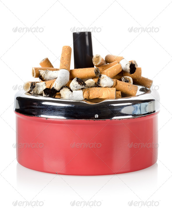 Cigarettes and old ashtray - Stock Photo - Images