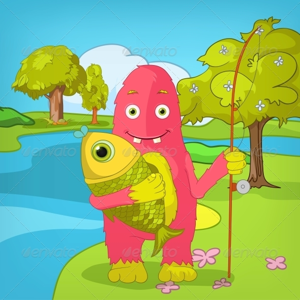 Funny Monster. Fisherman. - Monsters Characters