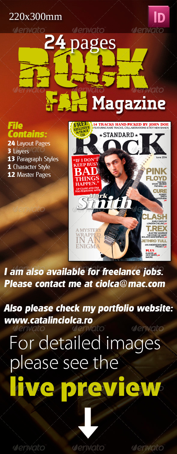 24 Pages Rock Fan Magazine - Magazines Print Templates