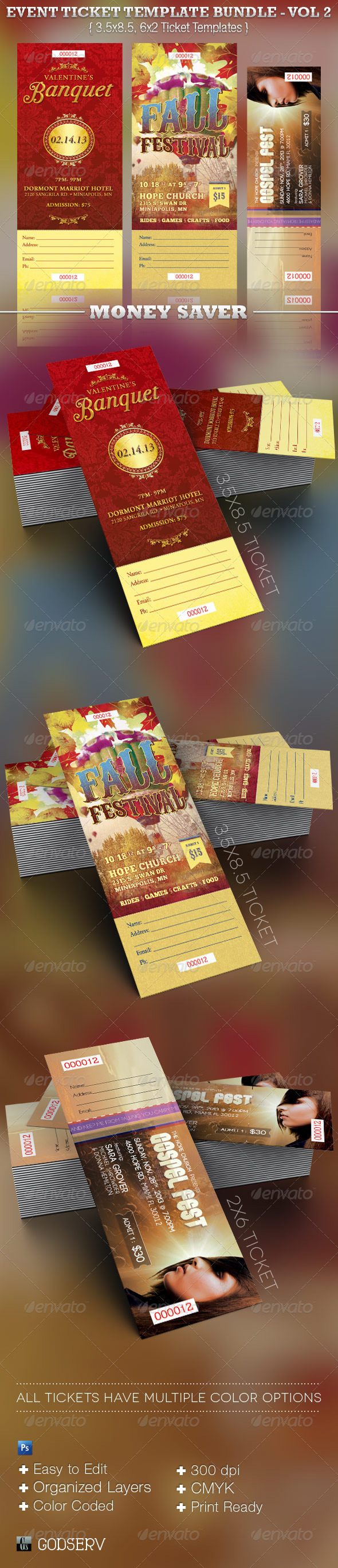 Event Ticket Template Bundle Volume 2 - Miscellaneous Print Templates