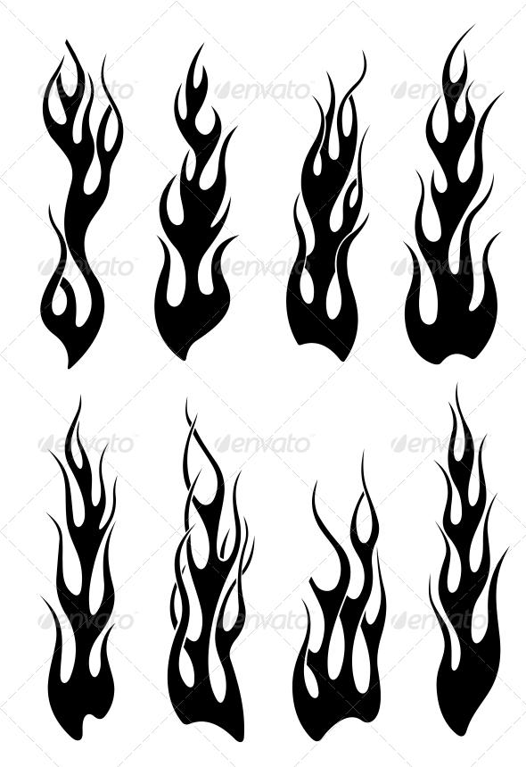 Set of Black Tribal Flames - Tattoos Vectors