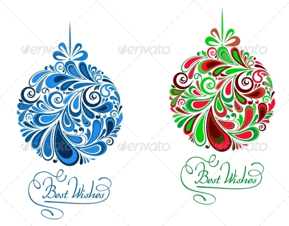 Abstract Holidays Balls in Floral Style - Christmas Seasons/Holidays